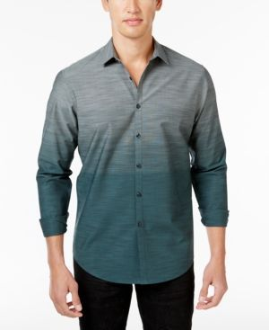 Inc International Concepts Men's Ombre Cotton Shirt, Only at Macy's - Green XXL