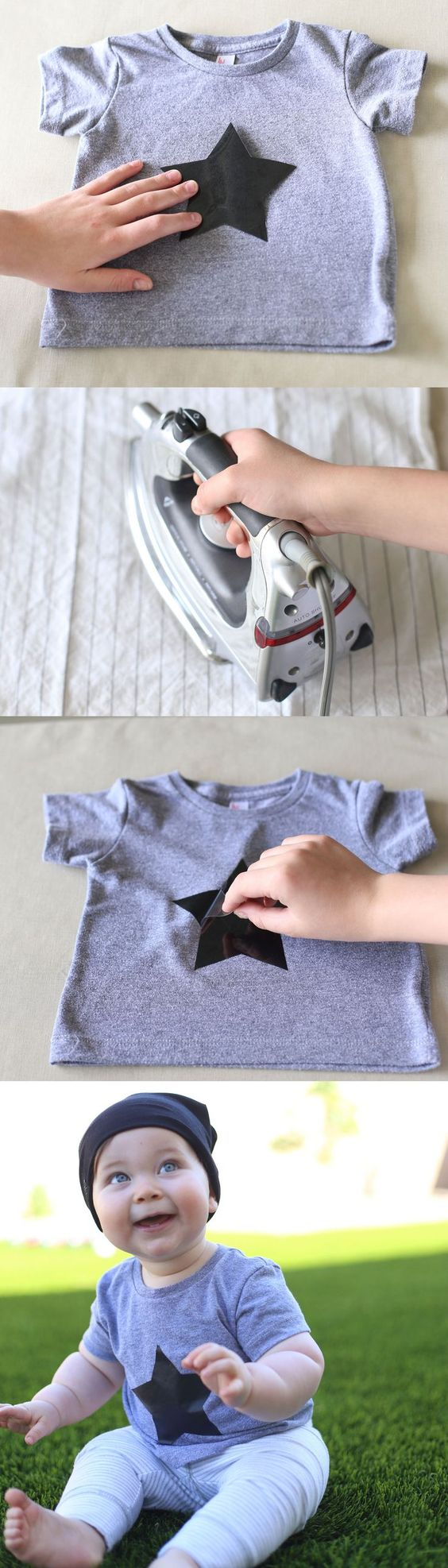 DIY baby shirt + cute baby boy style - DIY this graphic t shirt for your kiddo in five minutes! Easy peasy! Cute for boys and girls. It's a great baby clothes DIY and makes a great homemade gift for Christmas.