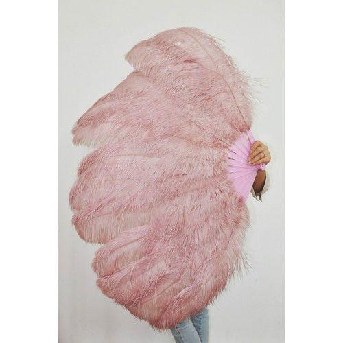 "Beige&Wood 2 layer Ostrich Feather Fan Burlesque Dance friend Favor 30""x54"""