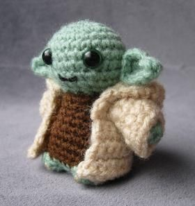 Tiny knit wool Yoda.