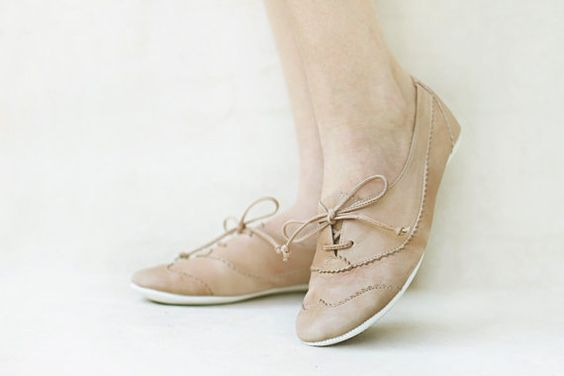 Nude Oxfords Handmade Pastel Leather flat by TheDrifterLeather
