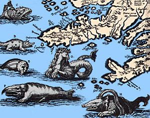 Year: 1570  Scientist/artist: Abraham Ortelius  Originally published in: Theatrum Orbis Terrarum  Now appears in: Monsters of the Sea by Richard Ellis  This excerpt of a map of Iceland by a Flemish cartographer shows sea monsters that many believed inhabited the surrounding waters.