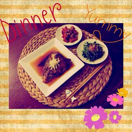 和食の日 - 21件のもぐもぐ - カレイの煮付け お浸し 人参とゴボウの煮物 by Tomo