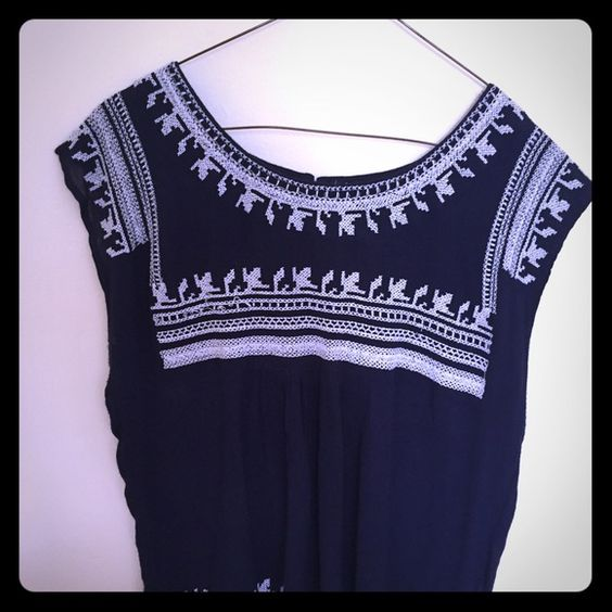 Forever 21 embroidered shirt - worn 1 time Some imperfections on the front (see last pic) easy to fix with a few stitches. Gorgeously embroidered Navy Blue flowy shirt. Runs small. Forever 21 Tops Blouses