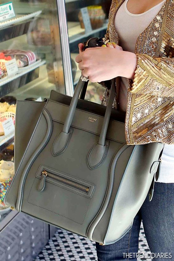 Celine Micro Luggage Crocodile Grey