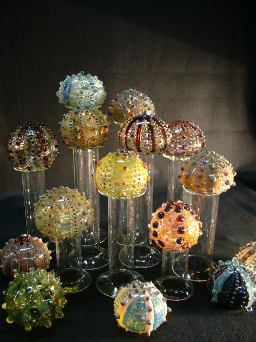 glass sea urchins by Laurie Young Art that inspires me