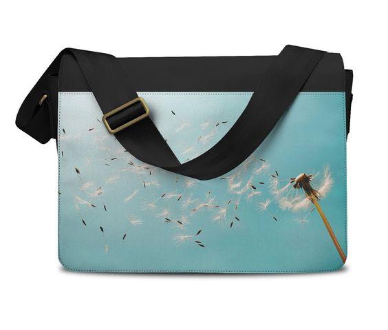 Dandelion Blowing In The Wind Messenger Bag - Laptop School Shoulder Bag