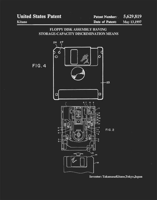 Patent Print 3 5 Inch Floppy Disk Vintage Computer Flopy Disk Art P476 Patent Prints Floppy Disk Patent Drawing