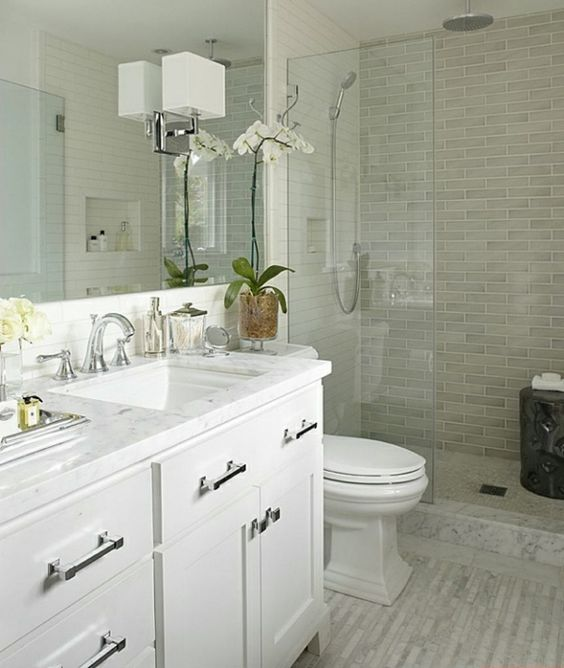 Small Bathroom Design Ideas White Vanity Walk In Shower Glass Partition The
