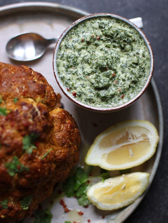 // Whole Roasted Tandoori Cauliflower with Mint Chutney