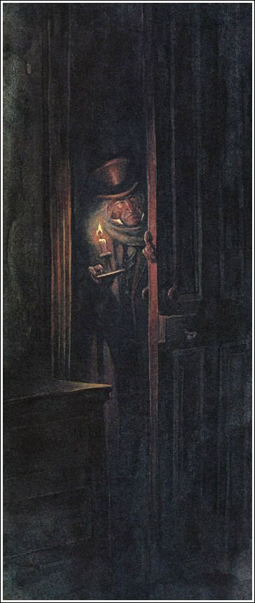 Up Scrooge went, not caring a button for that: darkness is cheap, and Scrooge liked it. But before he shut his heavy door, he walked through his rooms to see that all was right. He had just enough recollection of the face to desire to do that.