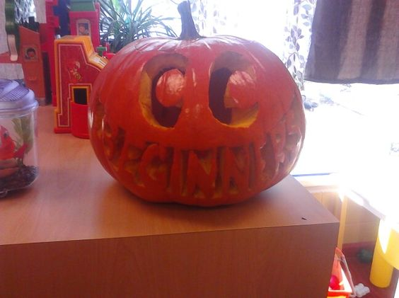 """the 2-3yr old class aka the beginner classes pumpkin. kids had a great time squishing the.insides and pretent to mix up"""" pumpkin soup""""(with help from book )"""