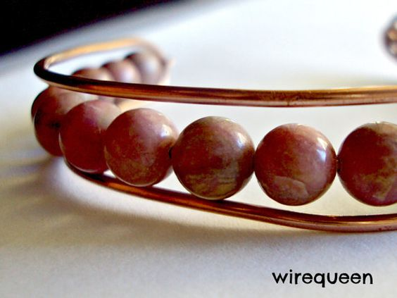 Wire Wrap Bohemian Bangle Copper and Rhodonite by WirequeenJewelry, $30.00