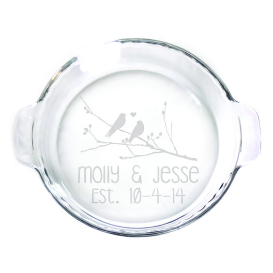 Pie Plate - 9 in. w/handles  - Birds on a Branch Personalized with Date