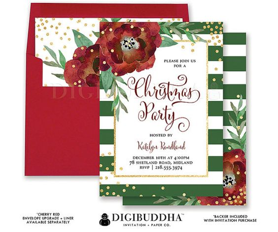 CHRISTMAS PARTY INVITATION Green Striped Gold Glitter Holiday Party Card Red Flower Confetti Ready Made or DiY Printable - Katelyn style. Red envelopes and matching envelope liners also available. Only at digibuddha.com