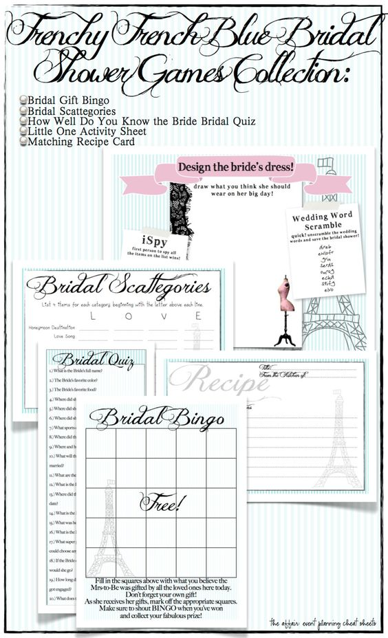 Frenchy Blue Bridal Shower Game Set -DIY Printables -Includes - free recipe card template for word
