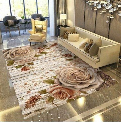 Living Room Floor Mat Modern Creative Color Block Bedroom