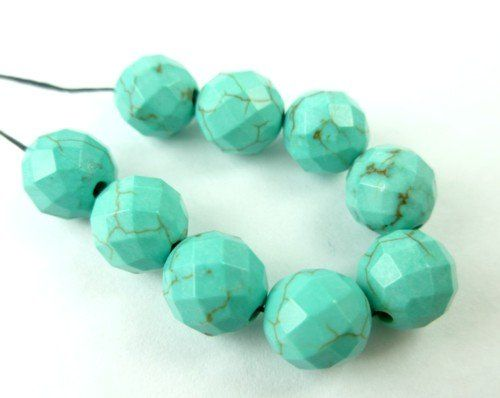 #Magnesite Blue Turquoise Faceted Round Beads 8mm Set of 9 @dianesdangles