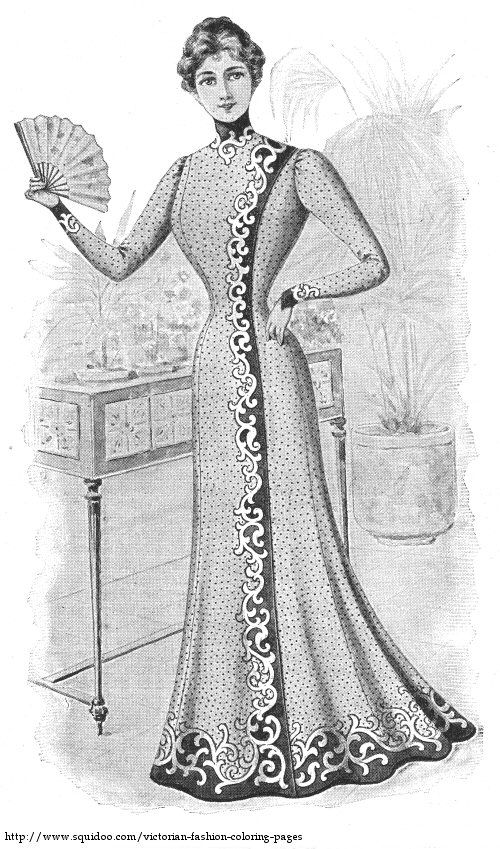 vintage dress coloring pages | Free Printable Coloring Pages - Scans of Antique Victorian ...