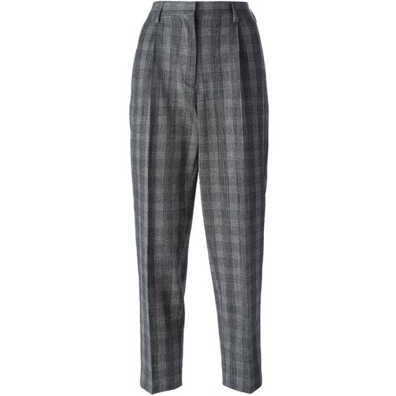 Etro Checked Cropped Trousers (£125) ❤ liked on Polyvore featuring pants, capris, black, crop pants, cropped trousers, etro, black pants and checked pants