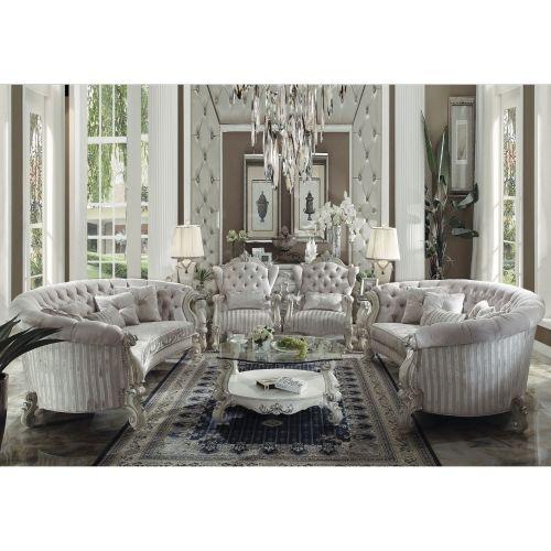 Acme 52085 Versailles Crescent Sofa In Tufted Ivory Velvet Bone White In 2021 White Living Room Set Luxury Living Room Velvet Living Room