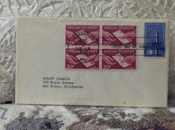 http://ajunkeeshoppe.blogspot.com/  FIRST DAY ISSUE/COVER-Stamp-30c Special Delivery 1957 8ozP724B4HP1213