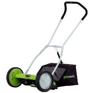 Greenworks 25052 16-Inch 5-Blade Push Reel Lawn Mower With Grass Catcher