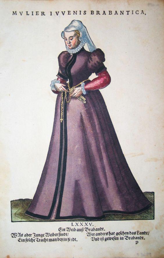 Jost Amman für Hans Weigel - BRABANT: Mulier Iuvenis Brabantica. Ein Weib auß Brabandt  1577 http://www.pahor.de/data/product-list/53689.jpg
