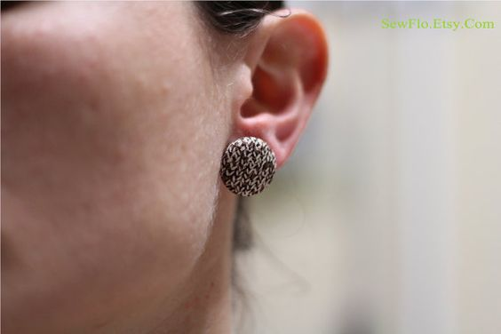 NEW Button Cover Earrings FREE Shipping on Domestic by SewFlo, $5.98