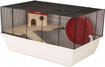 """Schickes Mäuse- und Hamsterheim Elmo """"L"""" für kleine Nager, wie Mäuse, Zwerghamster oder Gerbils. Inklusive Holzetage, Holzleiter, Holzhaus und Laufrad."""