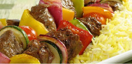 Take a look at this recipe (Sirloin Kabobs)