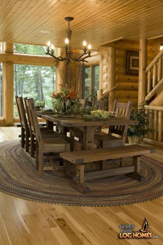 Lakehouse 3352al dining area love this table my Log cabin chandelier
