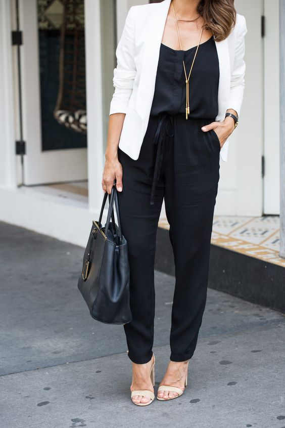 How to wear a black jumpsuit to work with a white blazer and nude sandals in the summer on Corporate Catwalk