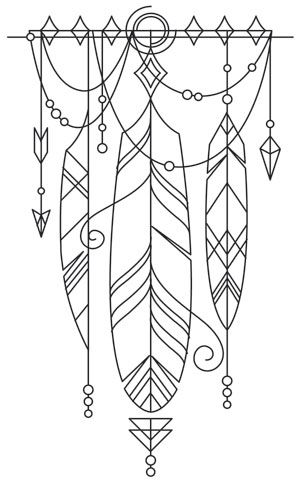Long believed to contain magical properties ensuring good luck for the possessor, this beautifully draping talisman of feathers can adorn your wardrobe, decor, and more! Downloads as a PDF. Use pattern transfer paper to trace design for hand-stitching.