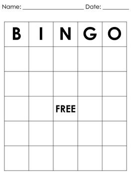 FREEBIE!!  A simple blank bingo board for you or your students to complete. Have fun!