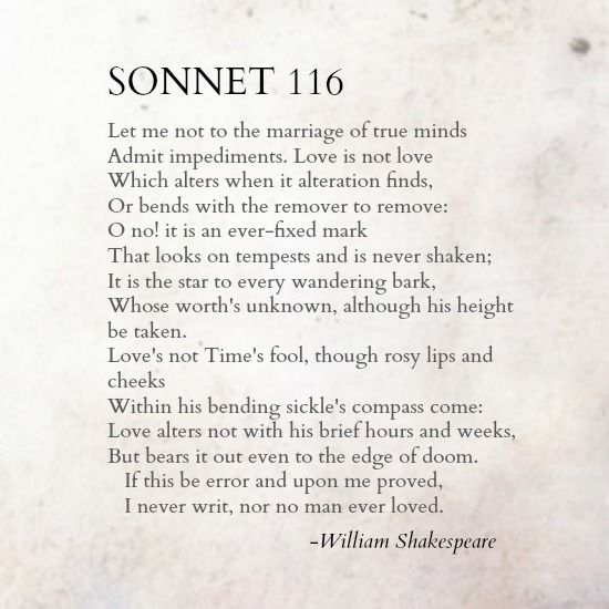sonnet 116 essay Get an answer for 'what is the comparison between shakespeare's sonnet 18 & sonnet 116' and find homework help for other shakespeare's sonnets questions at.