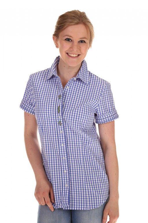 Auch im Bereich Damen #Blusen ist die Trendfarbe blau sehr effektvoll ... blau karierte Damen #Trachtenbluse kurzarm aus dem alpen-best-shop.de #Trends #Mode #Damen