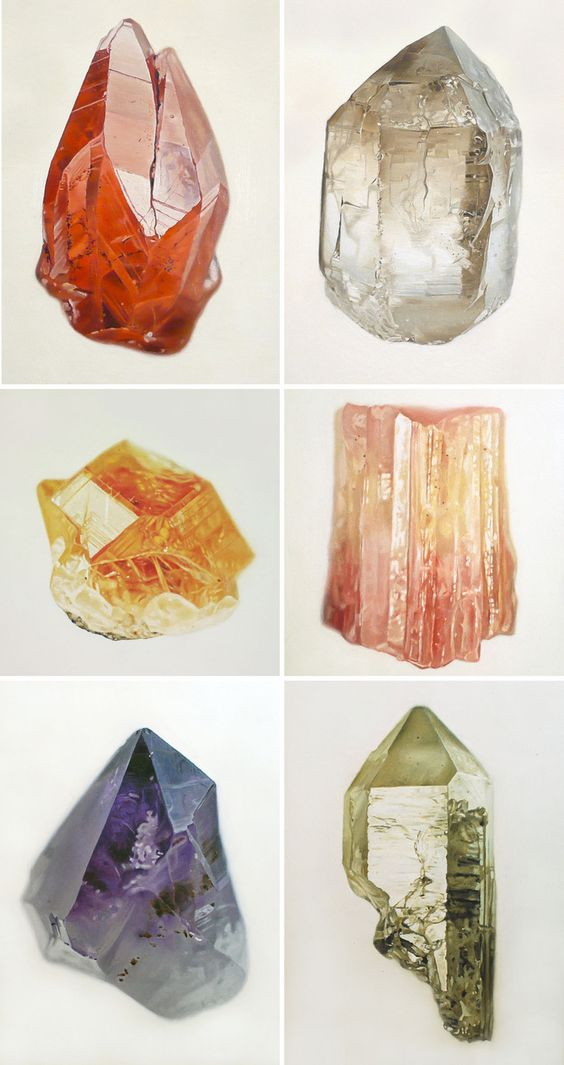 oil paintings of mineral specimens by artist Carly Waito. http://www.carlywaito.com/wp/