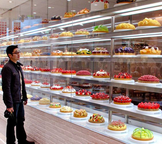 Fancy cake display in Osaka, Japan...decisions, decisions...