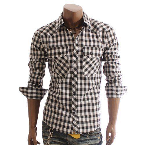 Doublju Mens Casual Slim check Button shirts(HC18)