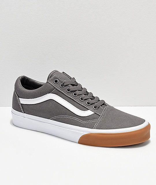 Vans Old Skool Grey, White & Gum Bumper Skate Shoes | Vans