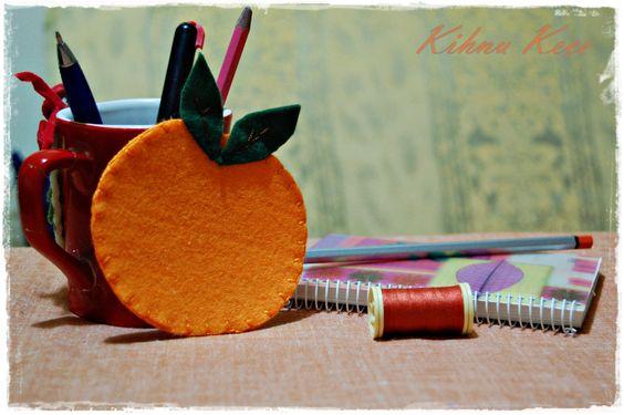 Felt orange cupholder & Keçe portakal bardak altlığı