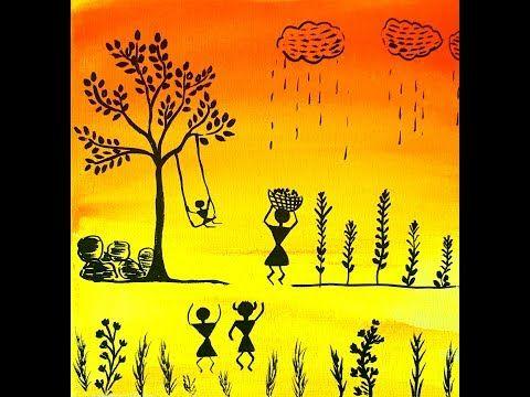 Warli Farm Scene On Canvas For Beginners Getting Started Youtube Tribal Art Drawings Tribal Print Art Indian Art Paintings