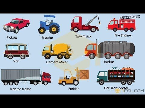 Transportation and vehicles vocabulary words in English with