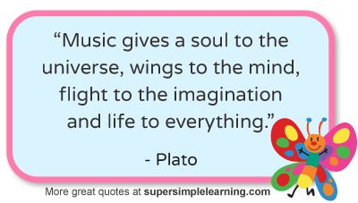 More great music quotes at www.supersimplelearning.com #music #universe #imagination #Plato #quotes
