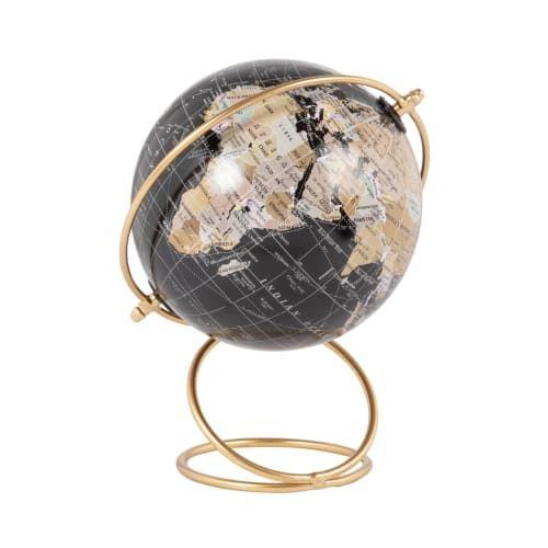 Globe Terrestre Carte Du Monde Noir Et Support En Metal Dore Terrano Maisons Du Monde En 2020 Carte Du Monde Globe Terrestre Maison Du Monde