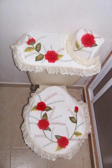 Juego De Baño Navideno Con Cinta:Juego de baño con rosa de triangulos