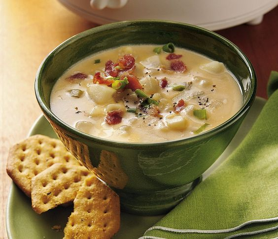 slow cooker  Slow Cooker Cheesy Potato Soup Recipe    INGREDIENTS:    1 bag (32 oz) frozen southern-style diced hash brown potatoes, thawed  1/2 cup frozen chopped onion (from 12-oz bag), thawed  1 medium stalk celery, diced (1/2 cup)  1 carton (32-oz) Progresso® chicken broth  1 cup water  3 tablespoons Gold Medal® all-purpose flour  1 cup milk  1 bag (8 oz) shredded American-Cheddar cheese blend (2 cups)  1/4 cup real bacon pieces (from 2.8-oz package)  4 medium green onions, sliced (1/4…