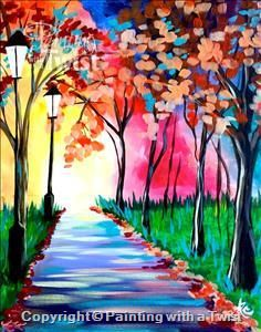 Morning walk indianapolis in painting class painting for Painting with a twist charlotte nc