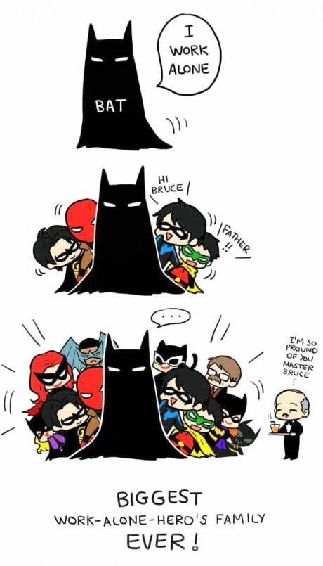 """""""I work alone..."""" But Bruce, a Bat needs his birds (and Butler)"""